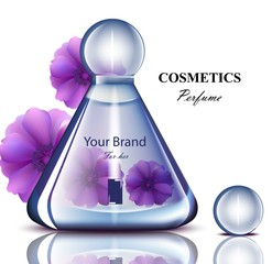 Women perfume bottle with delicate flowers fragrance. Realistic Vector Product packaging designs