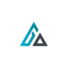 Initial Letter GO Linked Triangle Design Logo