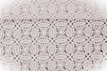 Image texture background, decorative lace with pattern. White texture of lace fabric. Template for a wedding, invitation or greeting card with a white lace frame. Wedding lace texture close-up