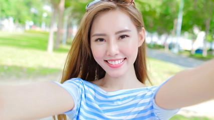 woman selfie happily