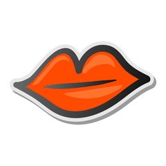 Lips sticker icon illustration, emoji style