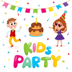 vector flat kids at party with confetti, flags, air balloons set. Caucasian boy dancing, girl in purple dress, party hat, glasses whistling near bix birthday cake. Isolated illustration