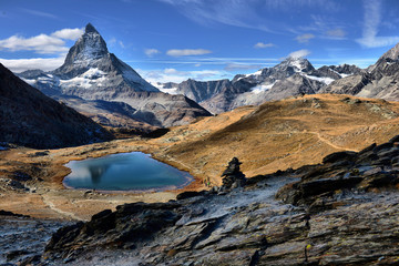 Poster Reflection Mt Matterhorn reflected in Riffelsee Lake Zermatt Canton of Valais