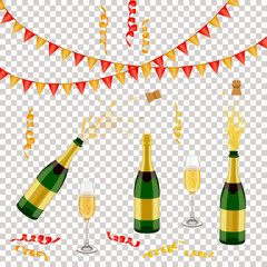 Set of champagne, sparkling wine bottle, open and closed, glass, flags and spiral confetti, realistic vector illustration isolated. Champagne bottle, glass, party decorations