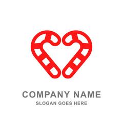 Candy Cane Heart Christmas Vector Logo