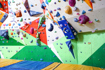 Interior of modern climbing gym