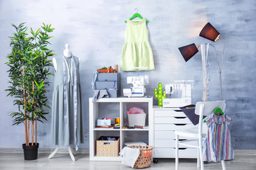 Room design with sewing machine
