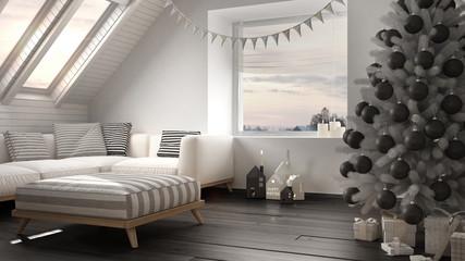 Christmas tree and presents in modern loft, big panoramic window, white and gray scandinavian minimalist interior design