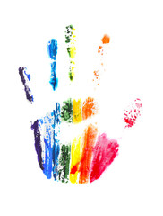 Rainbow handprint, isolated on white
