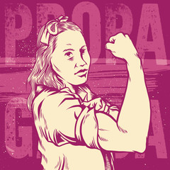 Woman's Fist and symbol Of Female Power And Industry. Modern Design Inspired By Classic American Poster. Isolated Artwork Object. Suitable For And Any Print Media Need.