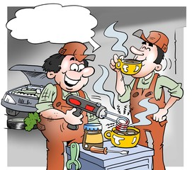 Cartoon illustration of a mechanic making hot chocolate with tools