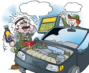 Cartoon illustration of an Arab who tests a new type of oil on the car
