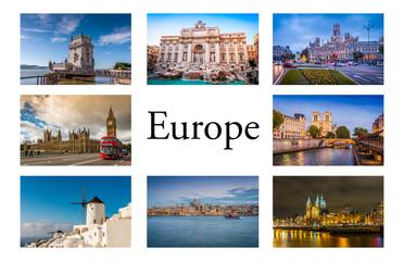 Carte postale de diverses villes d'Europe