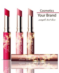 Lipstick cosmetics set collection realistic Mock up Vector. Ornament decor packaging original designs