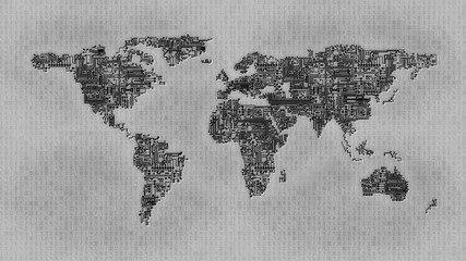 Map of earth as computer circuit on monochrome hexadecimal background