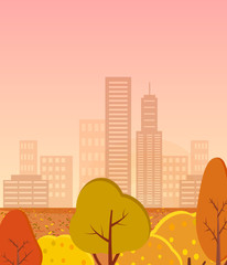 Autumn City with Golden Trees Vector Illustration