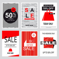 Set of mobile banners for online shopping.