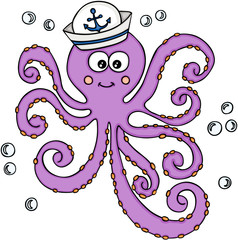 Octopus with sailor hat