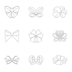 Giftbows, node, ornamentals, and other web icon in outline style.Bow, ribbon, decoration, icons in set collection.