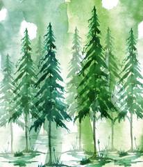 Watercolor art illustration. Drawing of the forest, pine tree, spruce, cedar. Dark, dense forest, suburban landscape. A beautiful burst of paint blue, purple, green, purple. Postcard, logo, card.