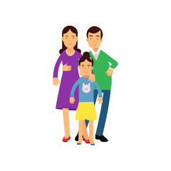 Young parents posing with their daughter, husband and wife with kid vector Illustration
