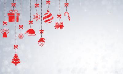 Weihnachtskarte mit hängenden Weihnachtsmotiven - (Rot)