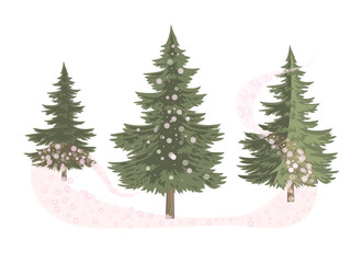 Three trees enveloped in magic Christmas/Three variants of lush green pine trees