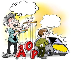 Cartoon illustration of a Car salesman standing and playing with numbers and letters