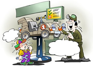 Cartoon illustration of a father gives the son's soy truck a service check