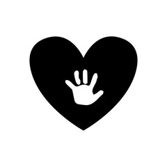 Baby handprint inside of black heart isolated on white background.