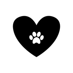 Animal pawprint inside black heart isolated on white background.