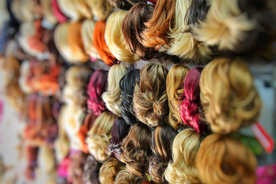 Colorful Toupee Hairstyle in Shop