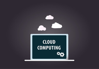 Cloud computing with laptop on dark grey background