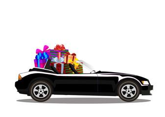Luxury black modern cartoon cabriolet car full of gift boxes