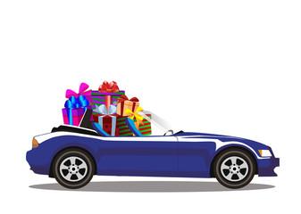 Dark blue modern cartoon cabriolet car full of gift boxes