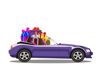 Violet modern cartoon cabriolet car full of gift boxes isolated on white background.