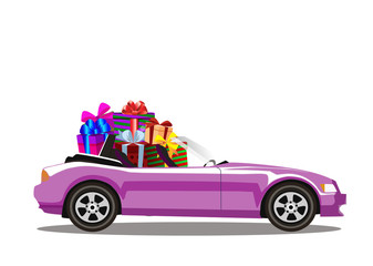 Pink modern cartoon cabriolet car full of gift boxes isolated on white background.