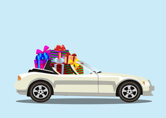 White modern cartoon cabriolet car full of gift boxes isolated.