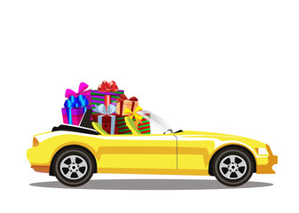 Yellow modern cartoon cabriolet car full of gift boxes isolated on white background.