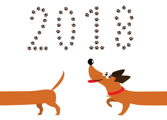 Cute cartoon dachshund dog following tail and number 2018 made of pawprints