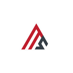Initial Letter MS Linked Triangle Design Logo