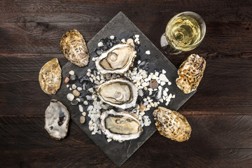 Overhead photo of oysters with wine and copy space