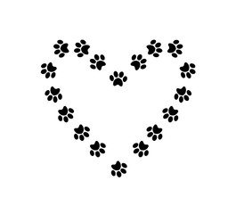 Heart symbol with space for text  made of animal paw prints