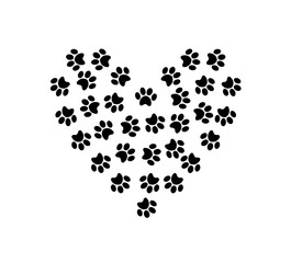 Heart symbol made of pet pawprints isolated on white background.