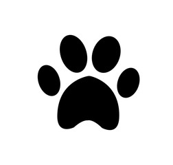Animal pawprint icon isolated on white background.