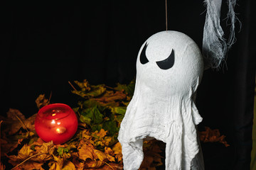 Halloween Concept - small white ghost