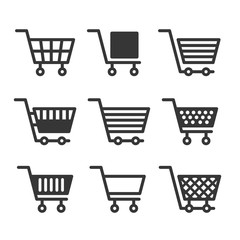 Shopping Cart Icons Set on White Background. Vector