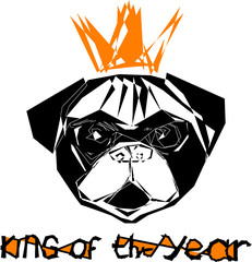 The symbol of the year 2018 is the dog in the golden crown of the king of the year vector