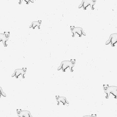 Arctic fox sketch line art seamless pattern on gray grunge background. Cute graphic animal illustration. Design for fabric, textile, decor.