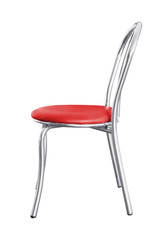 Stainless steel chair isolated.